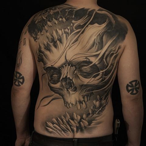 bio organic black and grey tattoo oak adams painted temple salt lake city slc backpiece