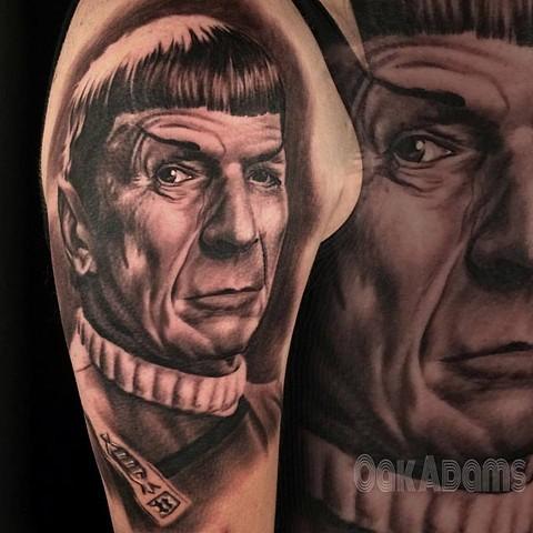 bio organic black and grey tattoo oak adams painted temple salt lake city slc spock portrait