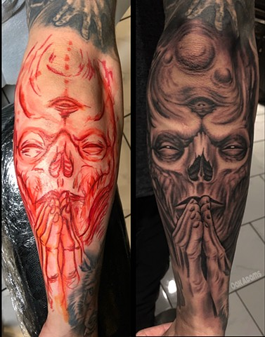 bio organic black and grey tattoo oak adams painted temple salt lake city slc skull