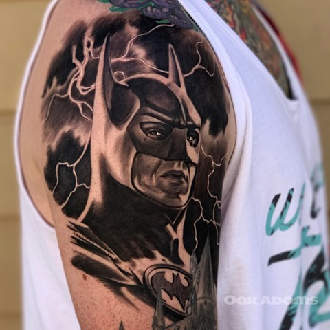 bio organic black and grey tattoo oak adams painted temple salt lake city slc batman michael keaton