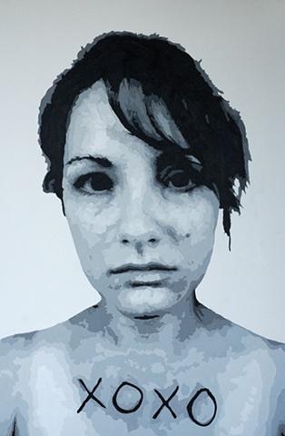 "XOXO Acrylic on canvas 48"" x 72"" 2010 SOLD"