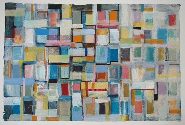 colorful, abstract grid painting on paper
