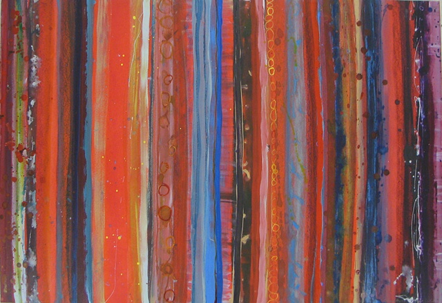 red striped abstract painting