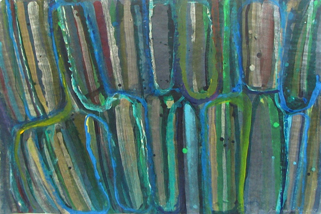 Blue-green abstract painting on paper