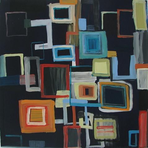 geometric abstraction on dark blue ground