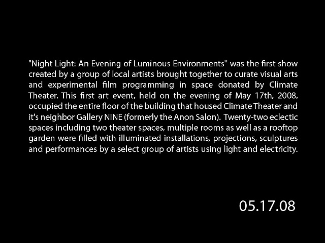 Night Light: An Evening of Luminous Environments