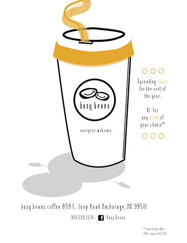 Busy Beans Coffee promotional flyer 1/14