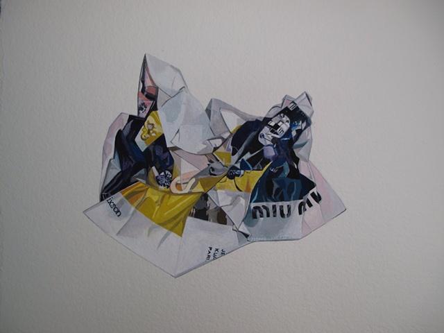 Miu Miu FW10 ad campaign, counterfeit crumple, nora mulheren artist
