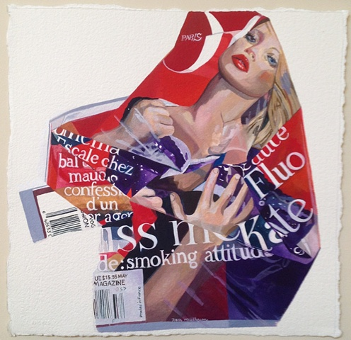 Kiss me Kate, Kate Moss, French Vogue cover May 2009, fashion and art, nora mulheren, michael mulheren, gouache on paper, art on paper