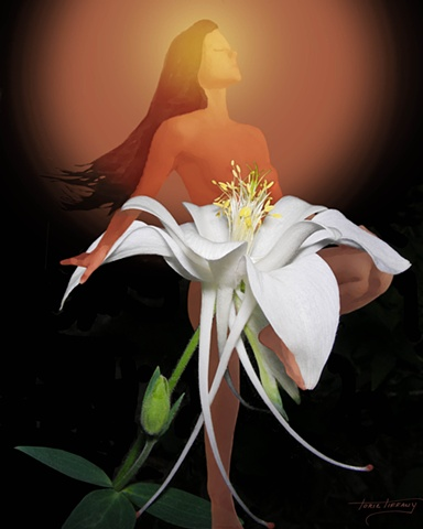 Fleurotica art, nude art, nude woman art, flower art, floral art, Columbine Flower art, sensual art, sensuous art, unique art, fantasy art, romantic art, beautiful art, photographic art, digital art, digital collage art, digital painting
