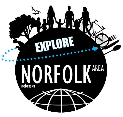 """Explore Norfolk Area"" Passport Program Logo  March 2018 Norfolk, NE"
