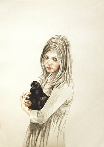 Guardian 1 graphite and colored pencil on paper 21 x 15 inches
