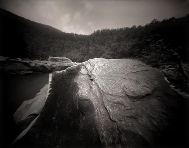 "Indian Rock, Goshen Pass, Virginia 1988 pinhole photograph archival pigment print 13""x20"""