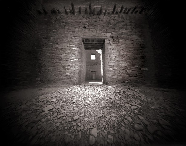 "Pueblo Bonito Doorways, Chaco Canyon, New Mexico  1987 pinhole photograph archival pigment print 13""x20"""