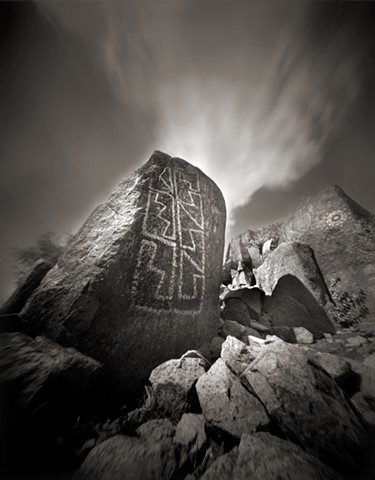 "Blanket Design, Three Rivers Petroglyph Park, New Mexico 1987 pinhole photograph archival pigment print 20""x13"""