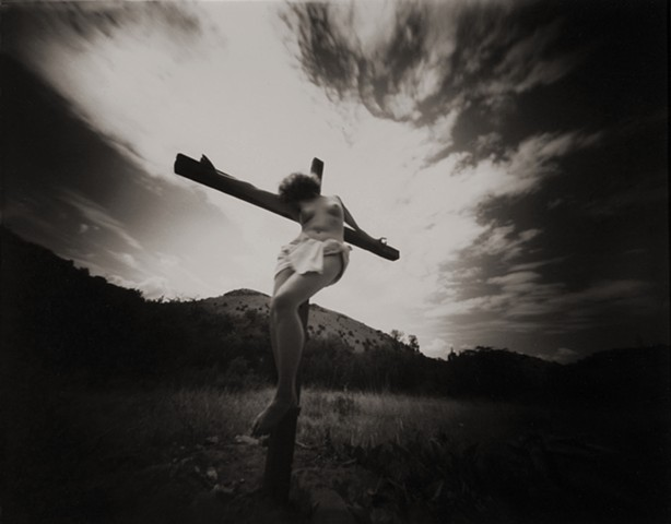 "Crucified Woman 1 1990-2004 pinhole photograph archival pigment print 13""x20"""