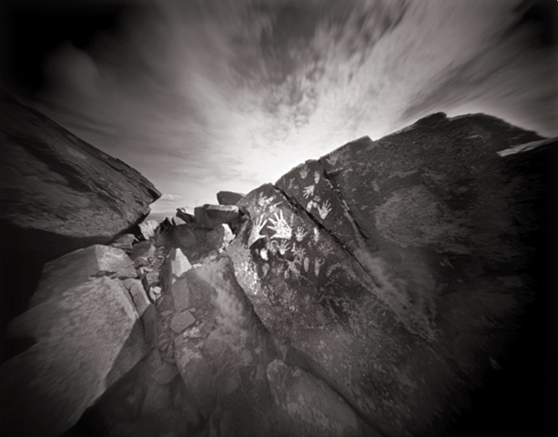 "Hands, Three Rivers Petroglyph Park, New Mexico 1988 pinhole photograph archival pigment print 13""x20"""
