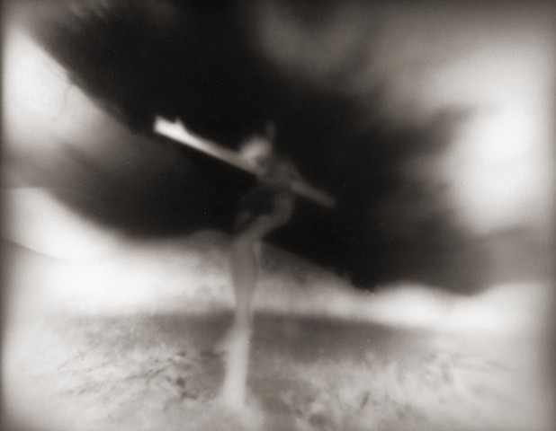"Crucified Woman 3 1990-2004 pinhole photograph archival pigment print 13""x20"""