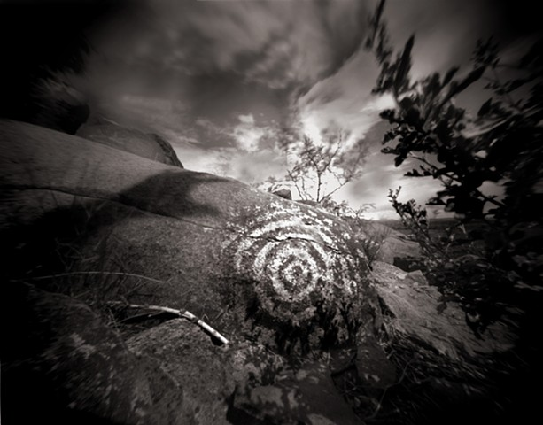 "Circles, Three Rivers Petroglyph Park, New Mexico 1988 pinhole photograph archival pigment print 13""x20"""