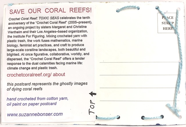 """back of """"Save Our Coral Reefs"""" postcard"""