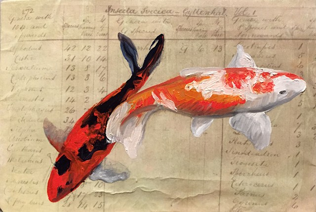 painted on paper printed with the notes from Darwin's origins of species