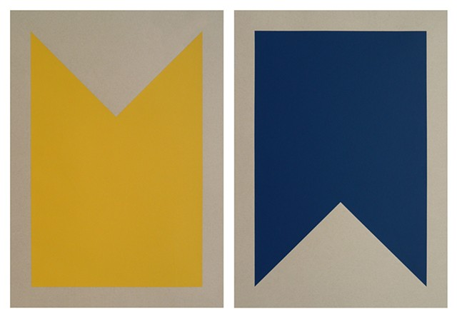 "B-Bravo. (Set of Two) (School Bus Yellow, Marine Blue) Each Print Measures 15"" x 21"""