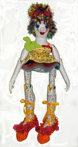 Hand-crafted cloth art doll, clown