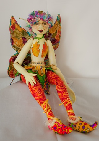 Fine handcrafted, cloth fairy art doll
