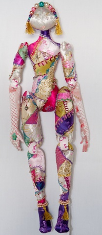 Quality, hand-crafted cloth art doll, African, crazy-quilt
