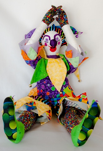 Quality hand-crafted cloth art doll, jester clown