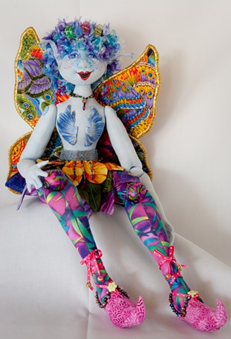 Handcrafted cloth fairy art doll