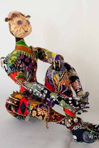 Quality, hand-crafted cloth art doll, african, african fabric, crazy quiltin