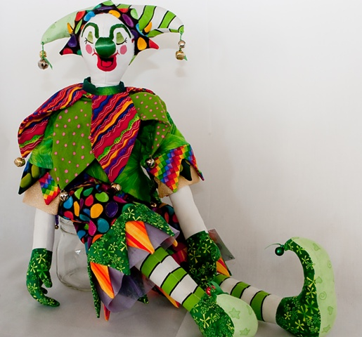 Quality, hand-crafted cloth art doll, clown, jester
