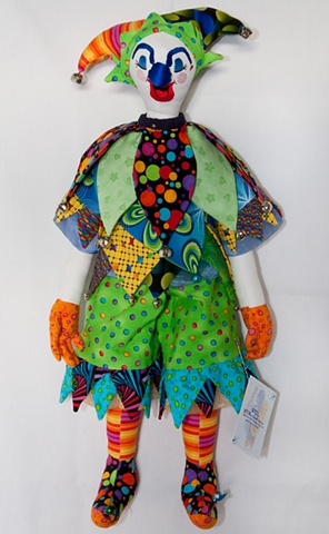 Quality, hand-crafted cloth art doll, jester clown