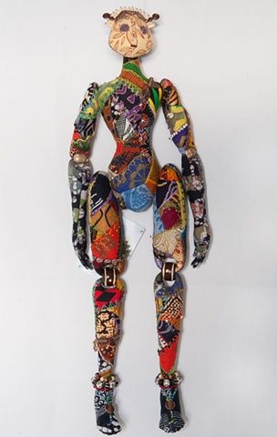 Quality, hand-crafted cloth art doll, african, african fabric, crazy-quilting