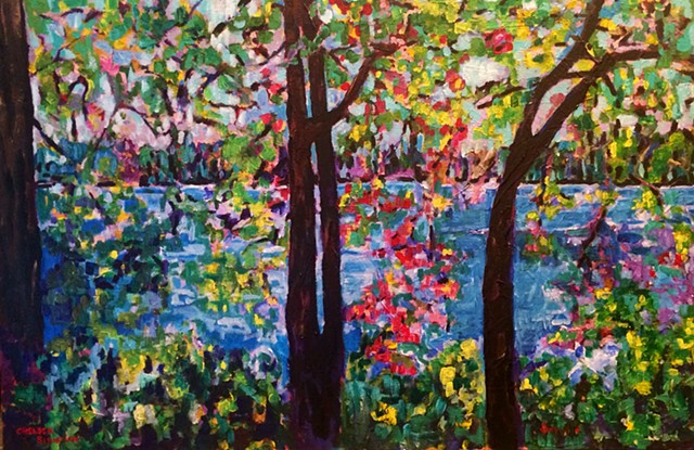Blue Painting art acrylic colorful trees wellesley massachusetts chelsea sebastian leaves lake water