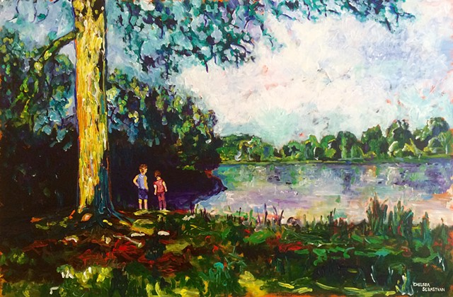 Painting colorful children Wellesley art Chelsea Sebastian lake tree yellow red