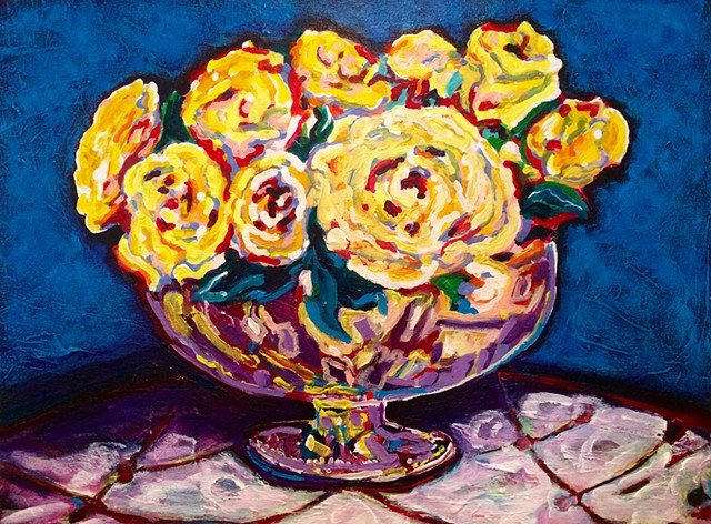 Chelsea Sebastian yellow roses vase blue colorful painting art flowers bouquet acrylic fine reflection happy