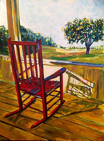 Red rocking chair yellow sunrise porch cushing island maine view chelsea sebastian painting