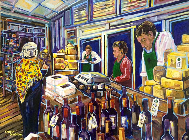 Wasik's cheese shop wellesley MA art chelsea sebastian people interior painting color