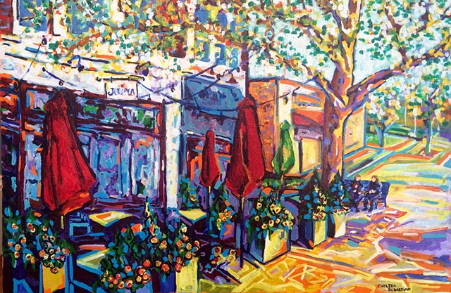 Cafe yellow Wellesley colorful Chelsea Sebastian tree impressionist expressionist