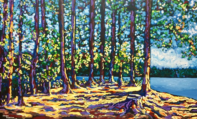 Chelsea sebastian art painting color trees Wellesley mores pond lake