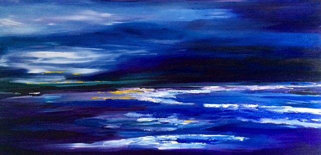 Ocean Beach painting chelsea sebastian horizon sunrise sunset art blue daybreak morning landscape colorful