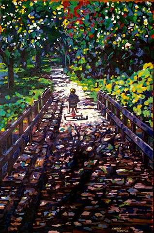 child tricycle boy girl bridge color chelsea sebastian wellesley new england art painting blue yellow trees