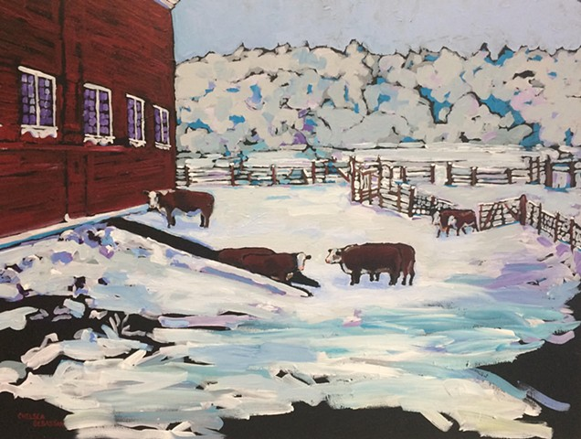 farm barn cow cow heifer painting Hereford chelsea sebastian art color snow winter fences rural