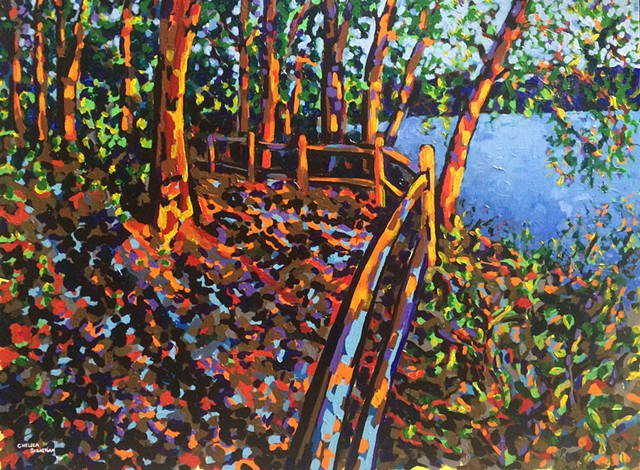 Trees wellesley trail color Chelsea Sebastian acrylic painting lake art landscape new england