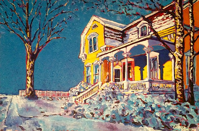 Art Chelsea Sebastian blue yellow sky tree Wellesley snow colorful porch Victorian home abyss