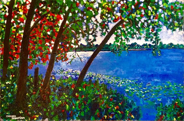 Lake waban Wellesley colorful light chelsea Sebastian blue art tree trees