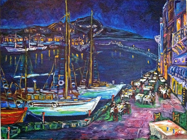 Boat Night Cafe Italy Blue Chelsea Sebastian Painting Colorful