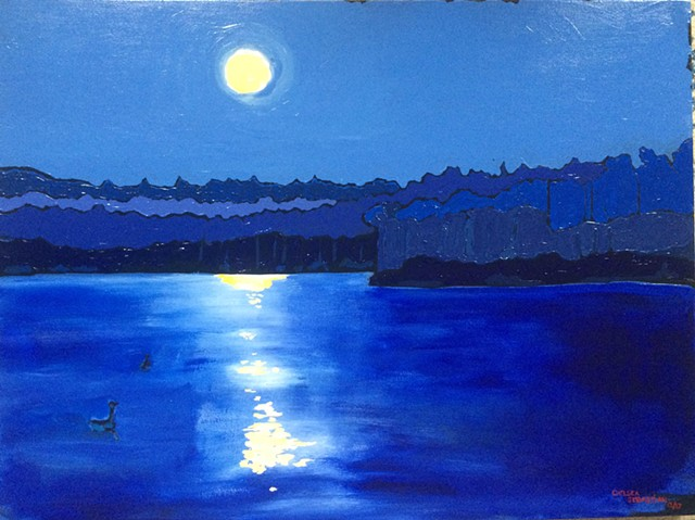 wellelsey college lake waban blue full moon painting art chelsea sebastian winter color